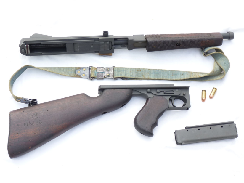 Deactivated American Thompson M1A1 submachine-gun early spec